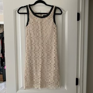 Cream Crocheted Kensie dress with leather accents